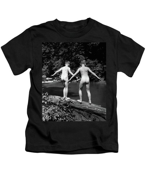 1930s Rear View Pair Naked Skinny- Kids T-Shirt