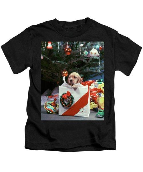 1950s Cocker Spaniel Puppy Dog Peeking Kids T-Shirt