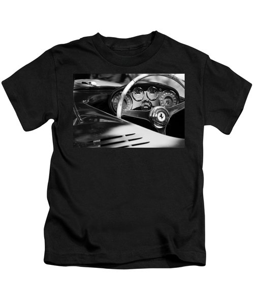 Kids T-Shirt featuring the photograph 1954 Ferrari 500 Mondial Spyder Steering Wheel Emblem by Jill Reger