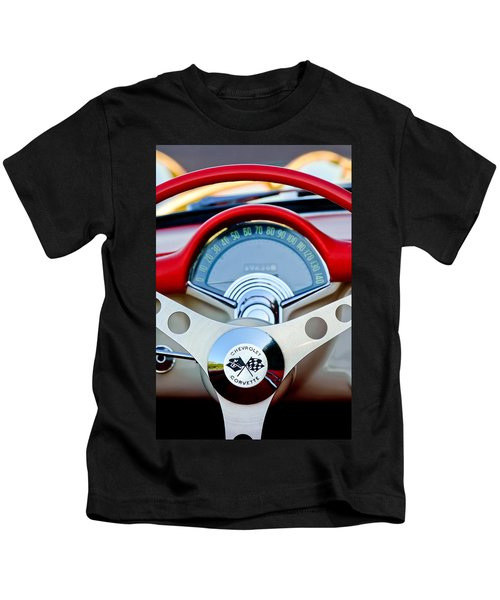 Kids T-Shirt featuring the photograph 1957 Chevrolet Corvette Convertible Steering Wheel by Jill Reger