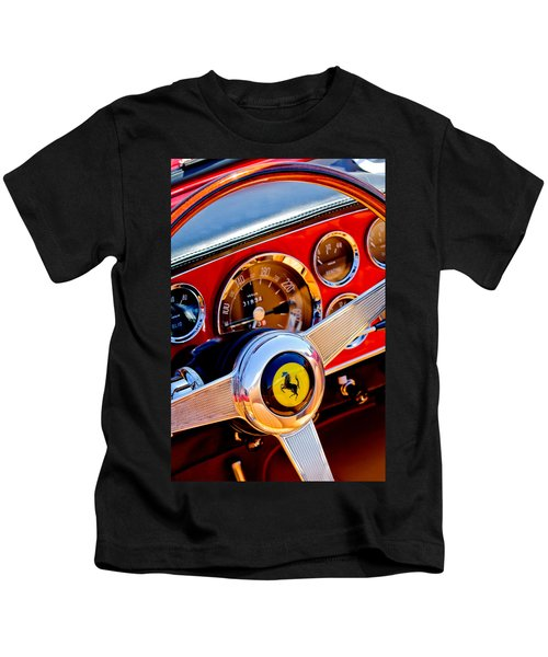 Kids T-Shirt featuring the photograph 1960 Ferrari 250 Gt Cabriolet Pininfarina Series II Steering Wheel Emblem -1319c by Jill Reger