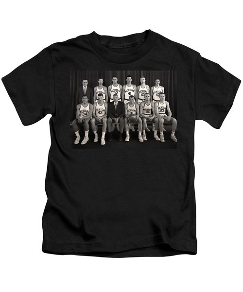 1960 University Of Michigan Basketball Team Photo Kids T-Shirt by Mountain Dreams