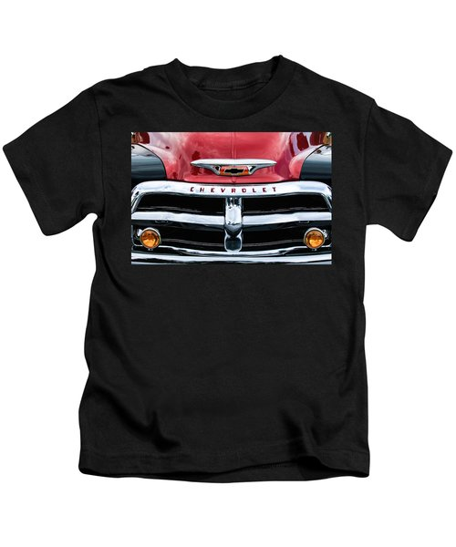 Kids T-Shirt featuring the photograph 1955 Chevrolet 3100 Pickup Truck Grille Emblem by Jill Reger