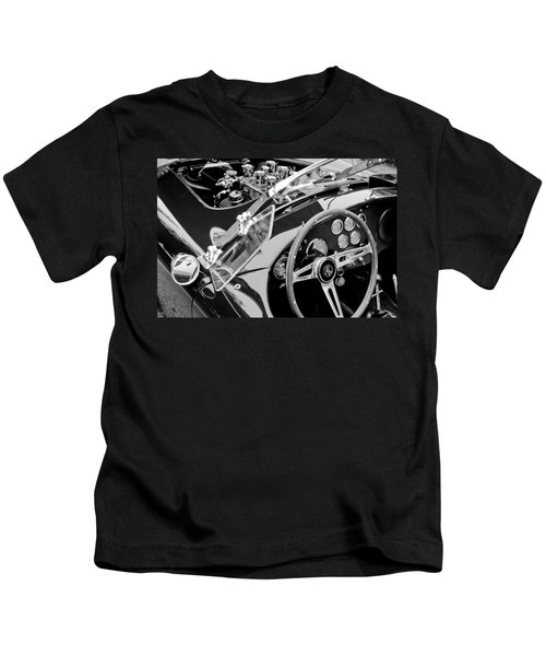 Kids T-Shirt featuring the photograph Ac Shelby Cobra Engine - Steering Wheel by Jill Reger