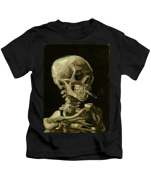 Head Of A Skeleton With A Burning Cigarette Kids T-Shirt