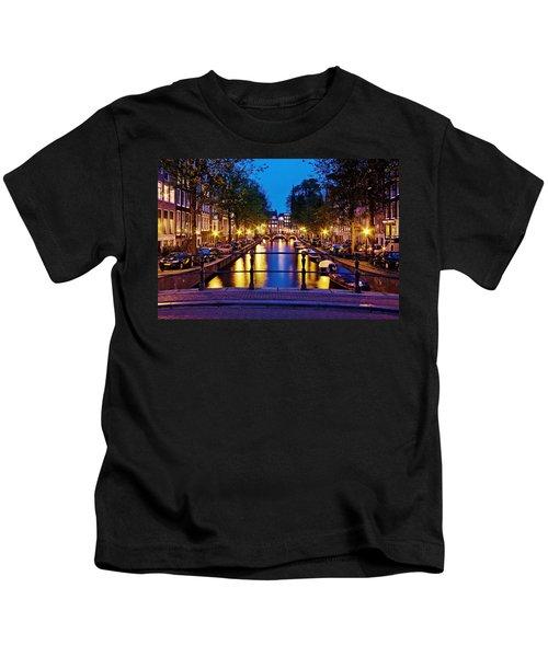 Leidsegracht Canal At Night / Amsterdam Kids T-Shirt