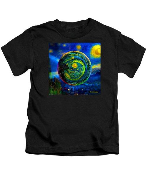 Orbiting A Starry Night  Kids T-Shirt