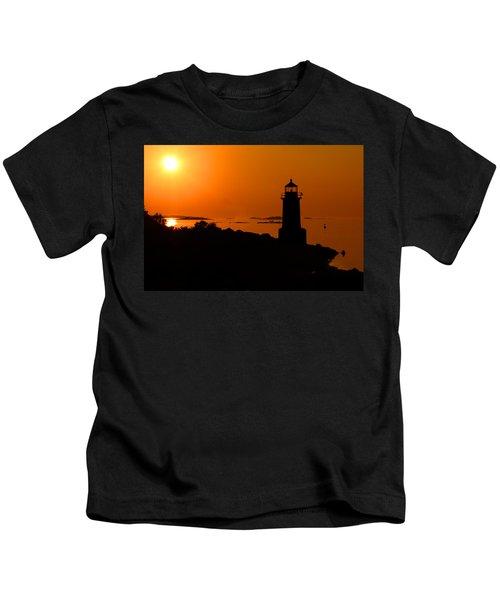 Winter Island Lighthouse Sunrise Kids T-Shirt