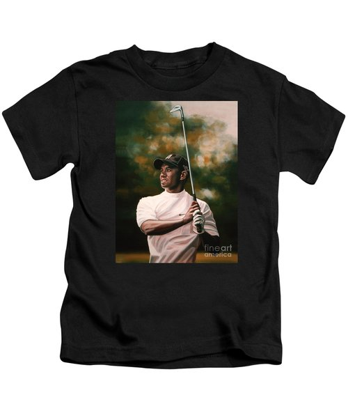 Tiger Woods  Kids T-Shirt by Paul Meijering