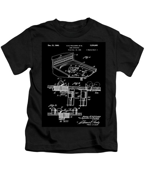 Pinball Machine Patent 1939 - Black Kids T-Shirt by Stephen Younts