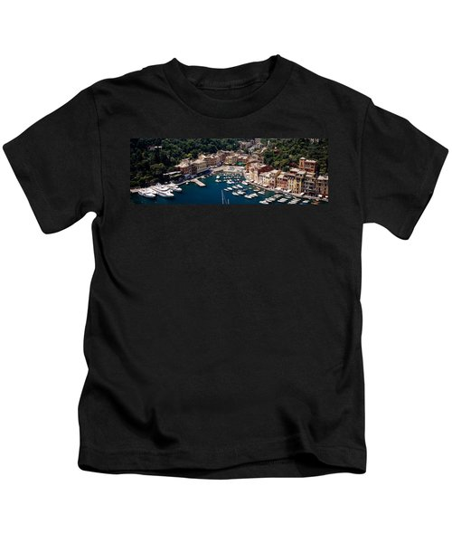 High Angle View Of Boats Docked Kids T-Shirt
