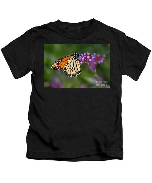 Monarch Butterfly In Garden Kids T-Shirt