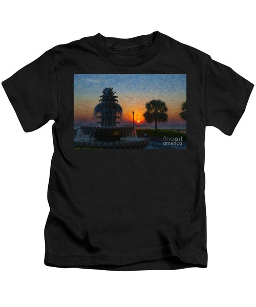 Pineapple Fountain At Dawn Kids T-Shirt