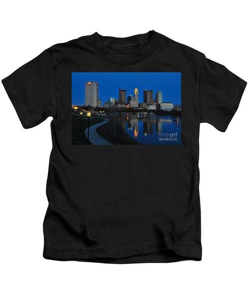 Columbus Ohio Skyline At Night Kids T-Shirt