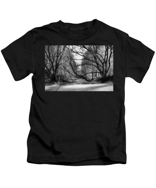 9 Black And White Artistic Painterly Icy Entrance Blocked By Braches Kids T-Shirt