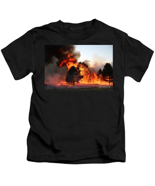 A Burst Of Flames From The White Draw Fire Kids T-Shirt