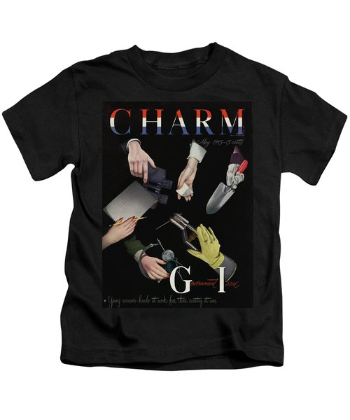 A Charm Cover Of Women's Hands Reaching For Tools Kids T-Shirt