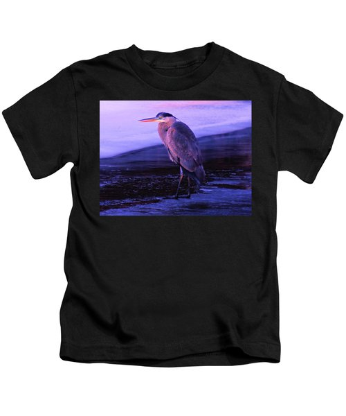 A Heron On The Moyie River Kids T-Shirt
