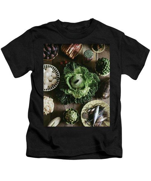 A Mixed Variety Of Food And Ceramic Imitations Kids T-Shirt