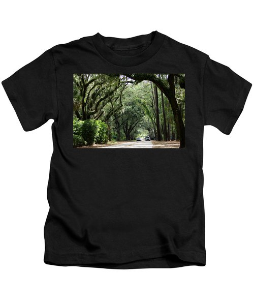 A Pretty Tree Covered Road Somewhere On Hilton Head Island Kids T-Shirt