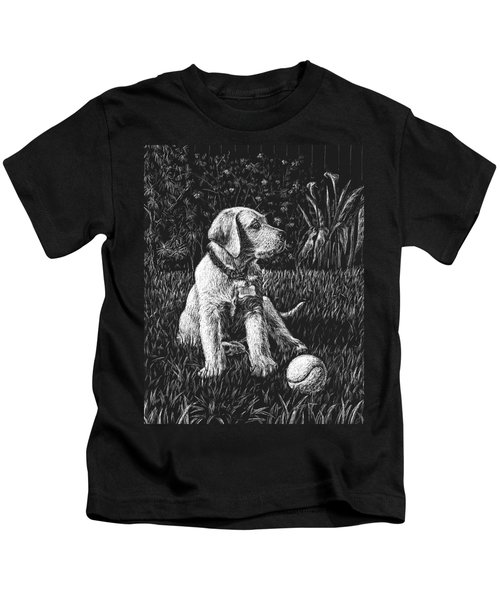 A Puppy With The Ball Kids T-Shirt