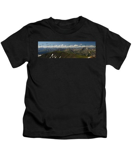 A Summit View Panorama With Peak Labels Kids T-Shirt