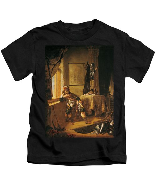 A Warrior In Thought Oil On Canvas Kids T-Shirt