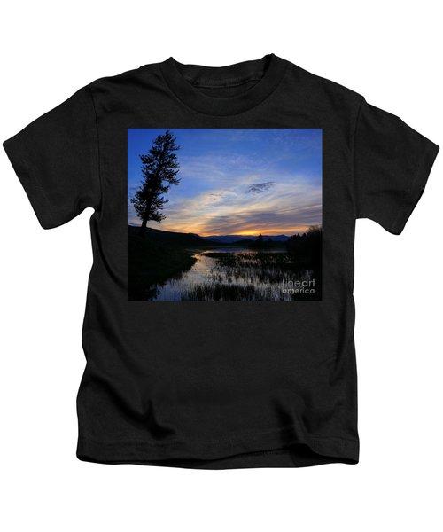 A Yellowstone Lake Before Sunrise Kids T-Shirt