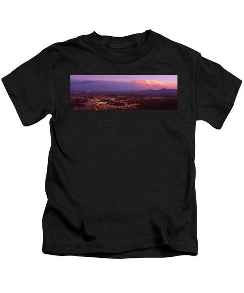 Aerial View Of A City Lit Up At Sunset Kids T-Shirt