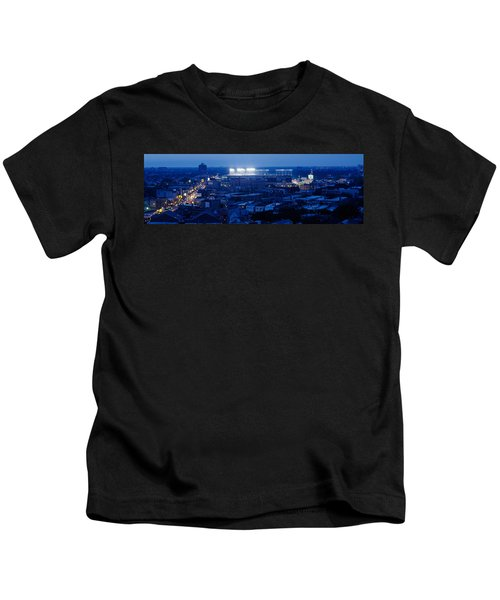 Aerial View Of A City, Wrigley Field Kids T-Shirt by Panoramic Images