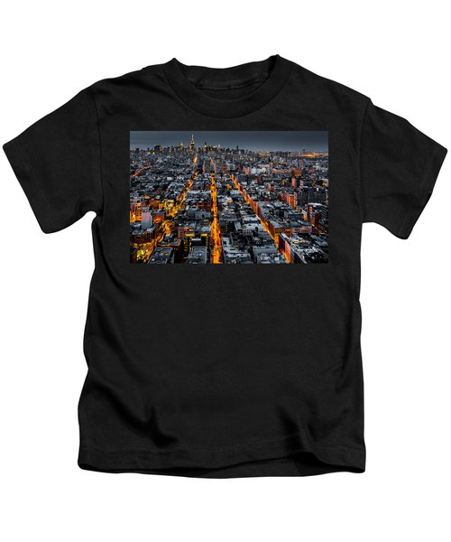 Aerial View Of New York City At Night Kids T-Shirt