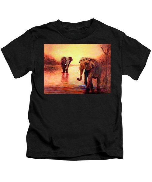 African Elephants At Sunset In The Serengeti Kids T-Shirt