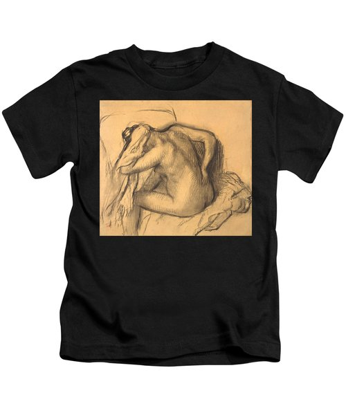 After The Bath .woman Drying Her Hair Kids T-Shirt
