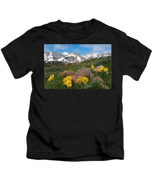 Alpine Sunflower Mountain Landscape Kids T-Shirt