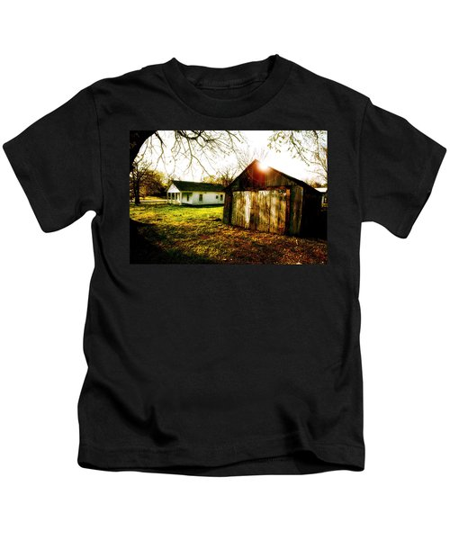 American Fabric   Mickey Mantle's Childhood Home Kids T-Shirt by Iconic Images Art Gallery David Pucciarelli