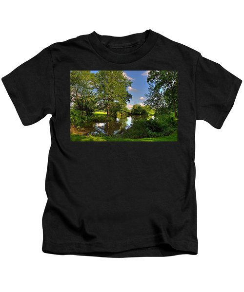 Kids T-Shirt featuring the photograph American Farm Pond by William Jobes