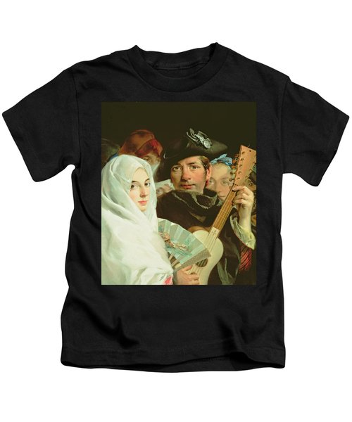 An Elegant Couple From Madrid, C.1770 Oil On Canvas Kids T-Shirt