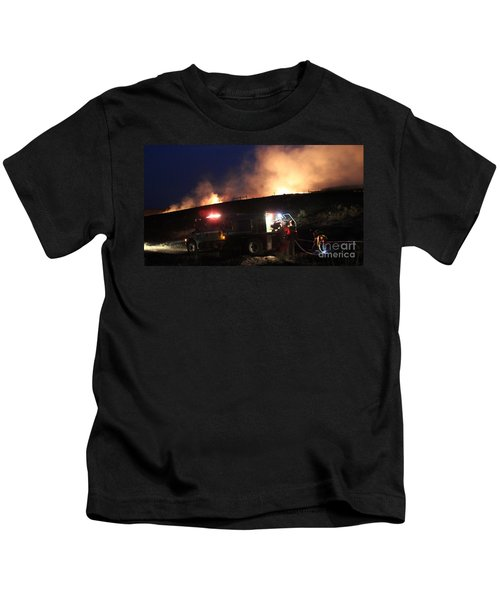 An Engine Crew Works At Night On White Draw Fire Kids T-Shirt