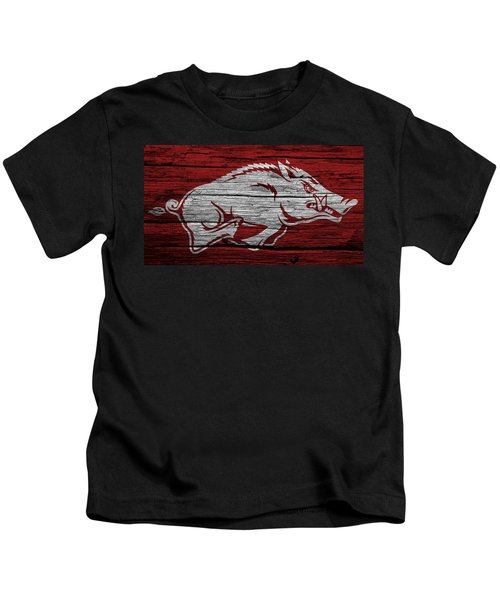 Arkansas Razorbacks On Wood Kids T-Shirt by Dan Sproul