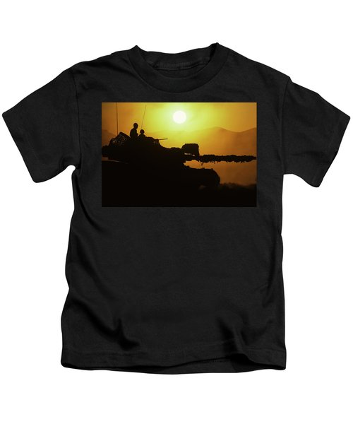 Army Tank With Camouflage In Training Kids T-Shirt