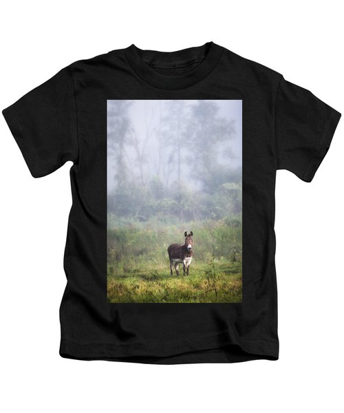 August Morning - Donkey In The Field. Kids T-Shirt