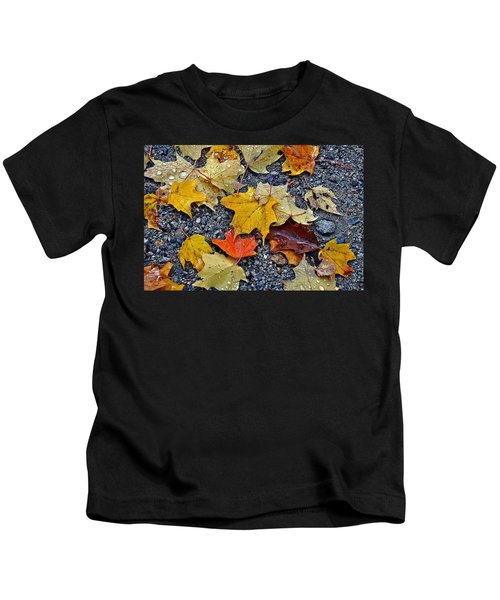 Autumn Leaves In Rain Kids T-Shirt