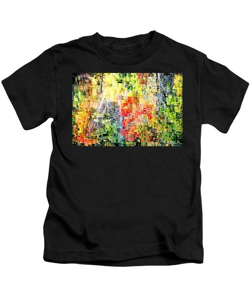 Autumn Leaves Reflected In Pond Surface Kids T-Shirt