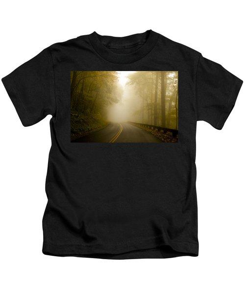 Autumn Mist Blue Ridge Parkway Kids T-Shirt