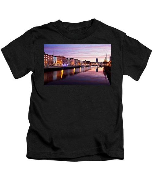 Bachelors Walk And River Liffey At Dawn - Dublin Kids T-Shirt