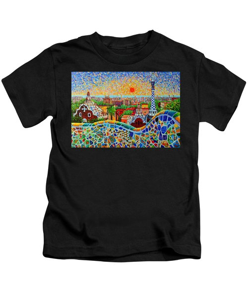 Barcelona View At Sunrise - Park Guell  Of Gaudi Kids T-Shirt
