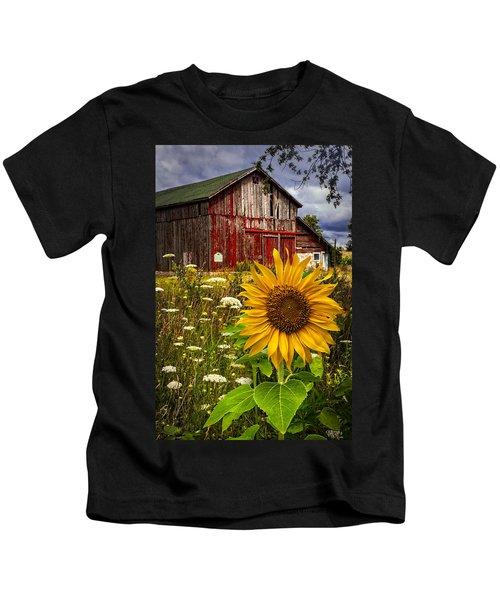 Barn Meadow Flowers Kids T-Shirt
