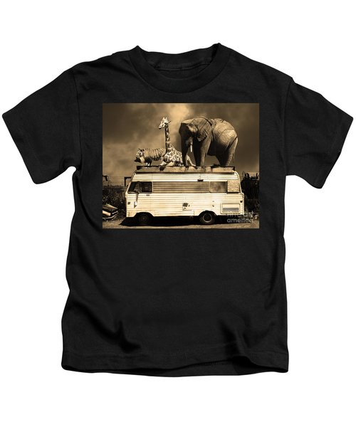 Barnum And Bailey Goes On A Road Trip 5d22705 Sepia Kids T-Shirt