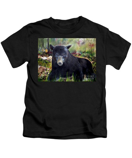 Bear Painting - Blackberry Patch - Wildlife Kids T-Shirt