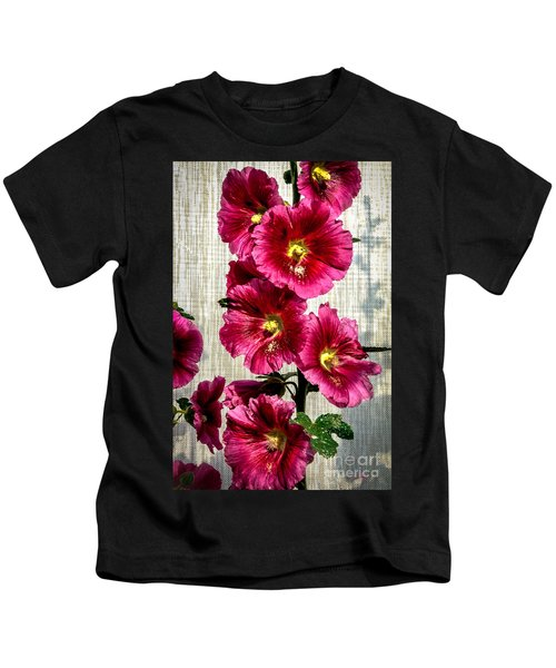 Beautiful Red Hollyhock Kids T-Shirt